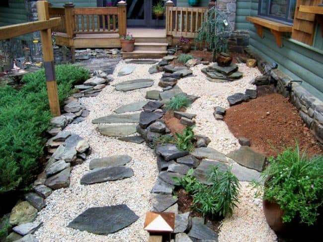 Low Budget Small Garden Design With Pebbles