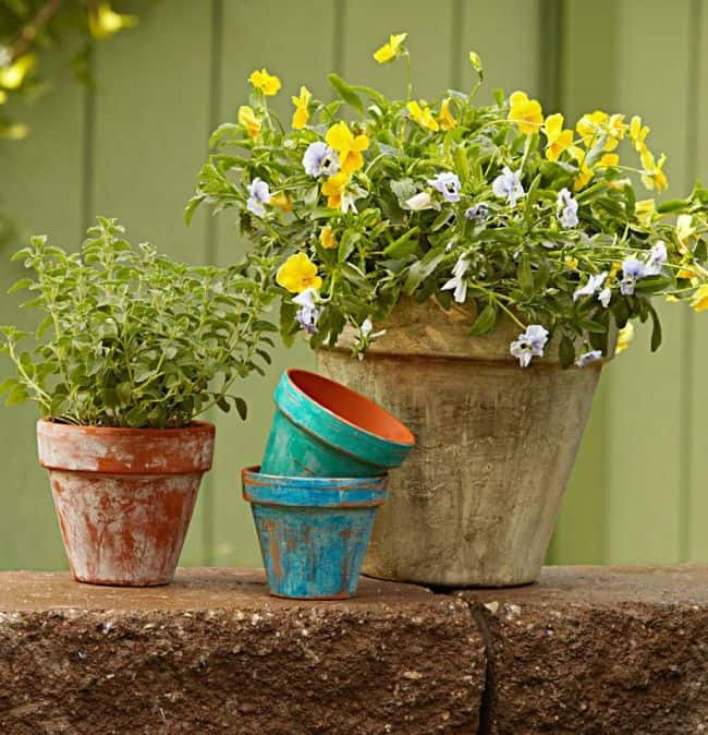Diy Garden Pots 31 diy awesome garden ideas with pots and rocks gardenoid diy aged garden pots workwithnaturefo