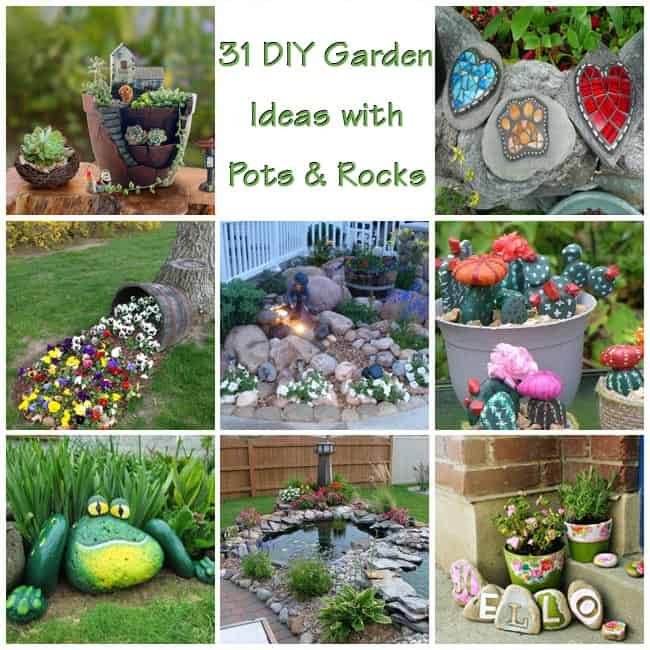 garden ideas with pots and rocks - Garden Ideas Using Pots