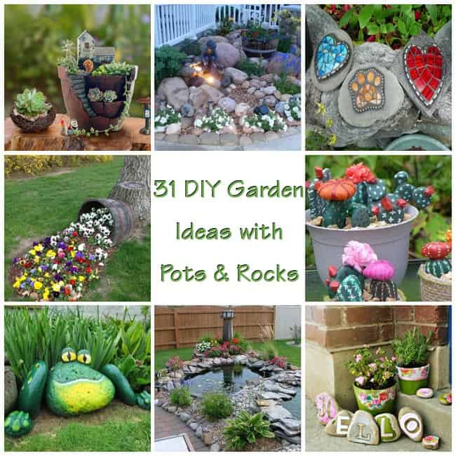 15 Stunning Container Vegetable Garden Design Ideas Tips: 31 DIY Awesome Garden Ideas With Pots And Rocks