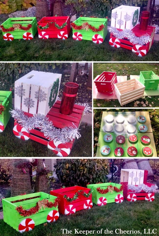 diy christmas crate train decor christmas yard decoration ideas - Christmas Train Yard Decoration