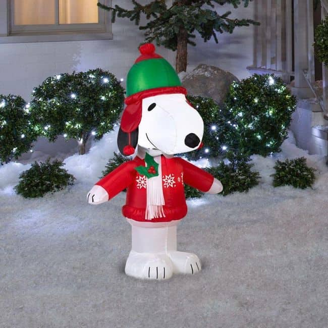diy snoopy inflatable christmas lawn decor christmas yard decoration ideas