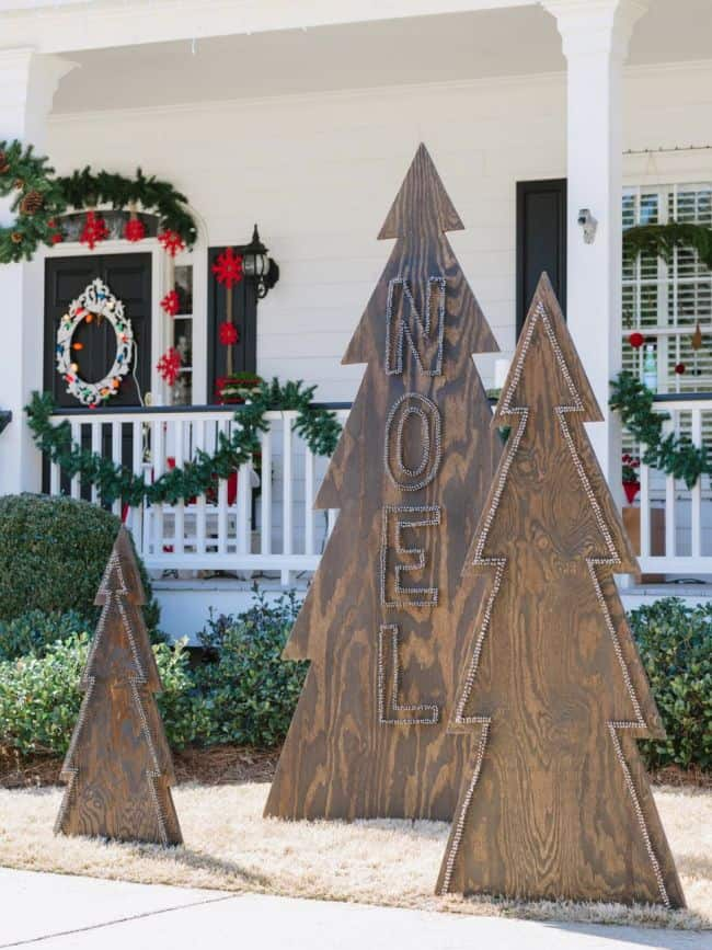 diy outdoor plywood christmas trees christmas yard decoration patterns - Large Wooden Christmas Decorations